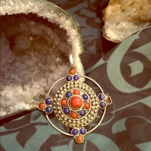 Jewelry - Coral and lapis pendant